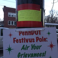 Lawrenceville residents protest PennDOT traffic signal placement with 'Festivus' pole