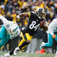 Antonio Brown moves up field against the Miami Dolphins on Sun. Jan. 8, 2017