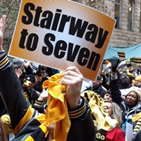 Pittsburgh fans cheer on Steelers at Friday's playoff rally downtown; game time moved to 8:20 p.m. Sunday evening