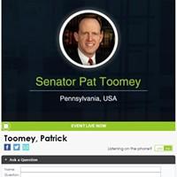Senator Pat Toomey's telephone town hall page