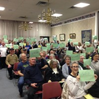 Keith Rothfus constituents holding up their ZIP codes at event in Beaver