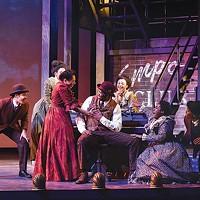 John Clay III (seated, at piano) and other cast members of <i>Ragtime</i>, at Carnegie Mellon School of Drama