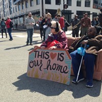 Affordable-housing advocates occupying the intersection of Centre and Penn avenues in East Liberty