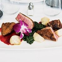 Duck <i>a l'orange</i>: duck breast with baby turnips, greens and blood orange