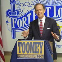 Republican Sen. Pat Toomey decrying sanctuary cities at a campaign event  in October 2016.