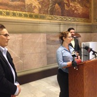 Environmental advocates at a press conference in the Allegheny County Courthouse.