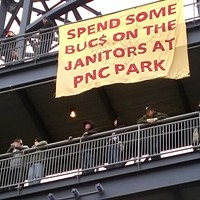 Janitors calling for $15/hour demonstrate on Pittsburgh Pirates opening day