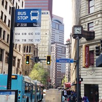 Bus stops like this one Downtown will be replaced by BRT stops, forcing some riders to transfer in Oakland.