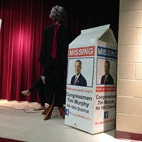 An empty suit and giant milk carton served as replacements to Congressman Tim Murphy