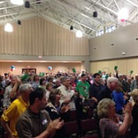 More than 200 consituents fill the Bethel Park Community Center at a town hall event without Rep. Tim Murphy.