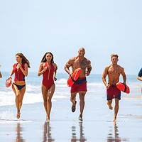 We're running very slowly: Kelly Rohrbach, Alexandra Daddario, Ilfenesh Hadera, Dwayne Johnson, Zac Efron and Jon Bass