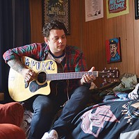 Derek Zanetti of Homeless Gospel Choir in his home studio in Hazelwood