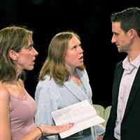 Left to right: Mary Meyer, Jena Oberg and Jared Pfennigwerth in <i>Proof</i>, at Little Lake