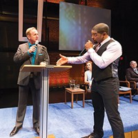 David Whalen (left) and Joshua Elijah Reese in <i>The Christians</i>, at Kinetic Theatre