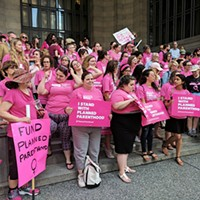 """Pink Out"" rally at the City-County Building Downtown"