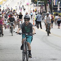 Cyclists cross the Roberto Clemente Bridge during OpenStreetsPGH on Sun., June 25.