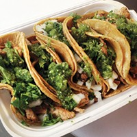 La Poblanita tacos garnished the traditional Mexican way