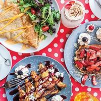 Chicken-and-Gruyere crepe, tiramisu waffle, and raspberry-and-goat-cheese French toast