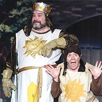 Rob James (left) and Carl Hunt in <i>Spamalot</i>, at Stage 62