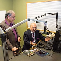 Dr. Vijay Bahl and Harish Saluja converse in the WESA studio.