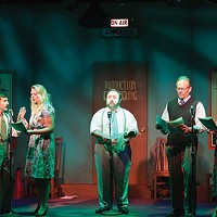 Brad Campbell, Sarah Parker, Andy Coleman, Bob Ference and Helga Terre in South Park Theatre's <i>Vintage Hitchcock</i>