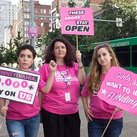Planned Parenthood employees and interns stand up for women's health.