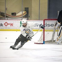 Kris Letang and Matt Murray during practice at UPMC Lemieux Sports Complex