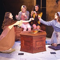 From left: Julia Small, Madeline Watkins, Aenya Ulke and Shannon Donovan in <i>You on the Moors Now</i>, at Point Park Conservatory
