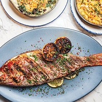 Red-spotted snapper with crab mac-and-cheese and creamed-spinach gratin