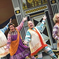 Left to right: Jimmy Kieffer, Jeff Howell, Gavan Pamer and Stephen DeRosa in <i>A Funny Thing Happened on the Way to the Forum</i>, at Pittsburgh Public Theater