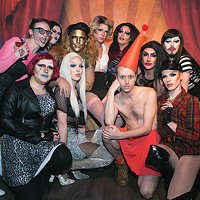 moon baby (in red) poses with drag queens at Blue Moon, where they regularly perform