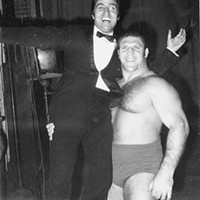 Pittsburgh's Bruno Sammartino lifts singer Mario Trevi