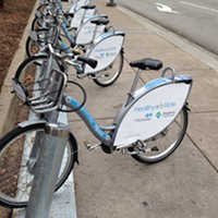 Healthy Ride bike-share station on Penn Avenue, Downtown