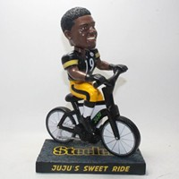 You can now buy a bobblehead of Pittsburgh Steelers receiver JuJu Smith-Schuster on his bike