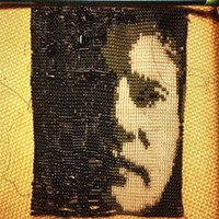 A beaded self-portrait by Caldwell Linker