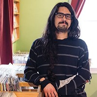 John Villegas at his music store Cruel Noise Records in Polish Hill.