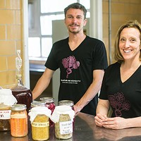 Trevor Ring, president of Chatham's Fermentation Club with Sally Frey, assistant professor in sustainable gastronomy in food studies
