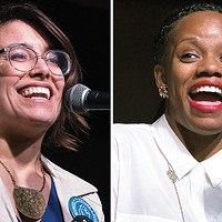 Sara Innamorato and Summer Lee during a candidate's forum hosted by City Paper on April 12