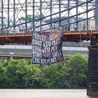 Banner hanging from the Smithfield Street Bridge