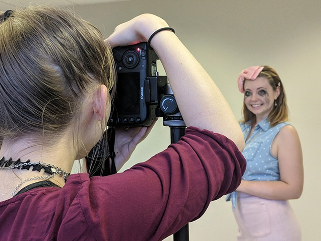 Behind-the-scenes of this week's College Issue cover: CP graphic designer Maya Puskaric behind the camera - CP PHOTO: LISA CUNNINGHAM