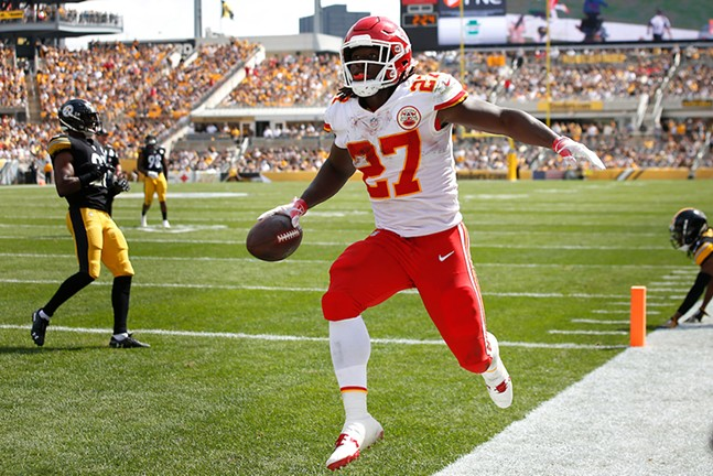 Kareem Hunt of the Kansas City Chiefs celebrates his touchdown against the Steelers. - CP PHOTO: JARED WICKERHAM