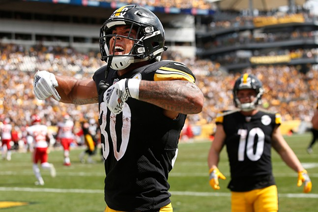 James Conner celebrates his two-point conversion against the Chiefs. - CP PHOTO: JARED WICKERHAM