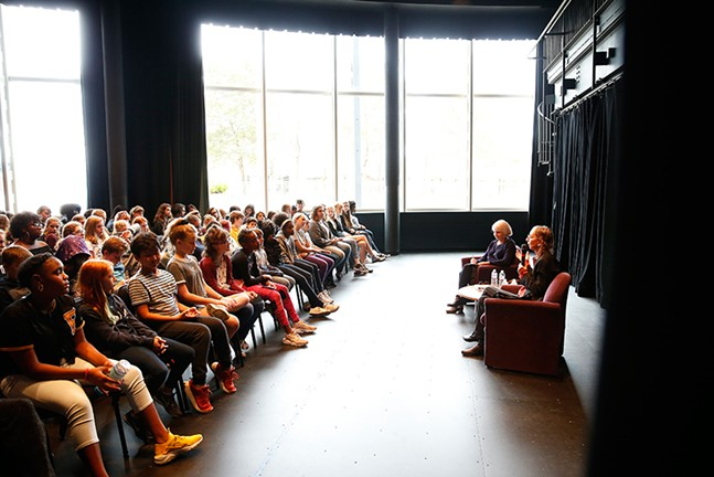 Joyce Carol Oates speaks to students at CAPA on Mon., Sept. 24 - CP PHOTO: JARED WICKERHAM