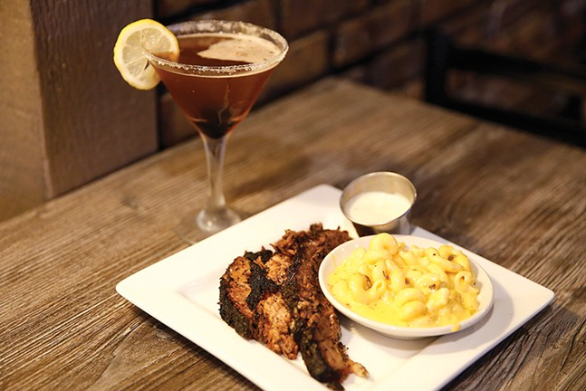 19-hour smoked brisket, macaroni and cheese, and raspberry martini at Bloomfield's Sugar and Smoke - CP PHOTO: JARED WICKERHAM