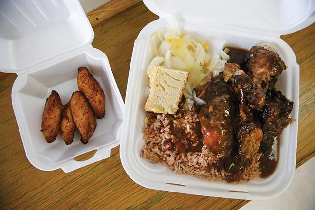 Jerk chicken and plantains - CP PHOTO: JARED WICKERHAM