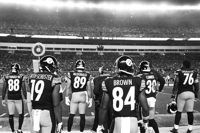 Antonio Brown and JuJu Smith-Schuster wait to take the offense onto the field. - CP PHOTO: JARED WICKERHAM