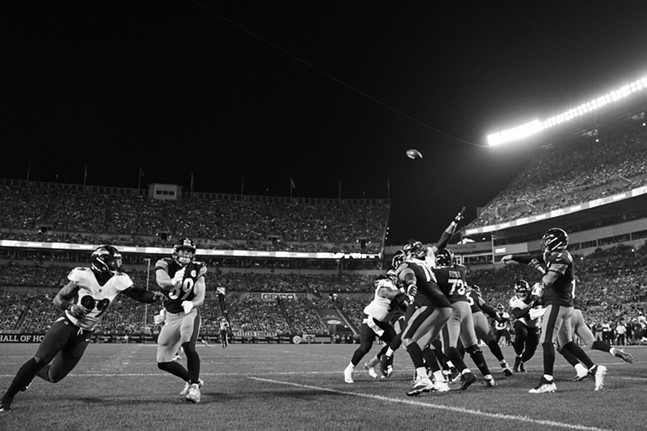 Ben Roethlisberger throws a pass from the endzone. - CP PHOTO: JARED WICKERHAM