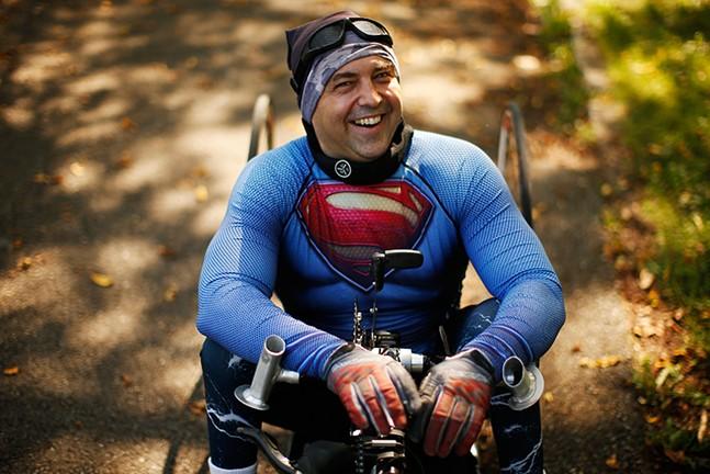 Attila Domos handcycles around the Highland Park bike track. - CP PHOTO: JARED WICKERHAM