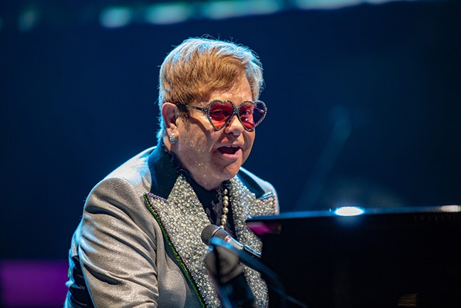 Elton John on stage at PPG Paints Arena on Wed., Oct. 10, 2018 - CP PHOTO: MIKE PAPARIELLA
