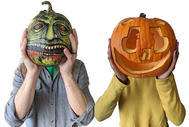 The Great Pumpkin Battle: Jeff vs. Jordan. - CP PHOTO: KEVIN SHEPHERD